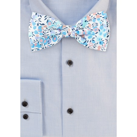 Colorful Summer Cotton Bow Tie with Floral Design