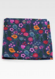 Navy Floral Pocket Square in Cotton