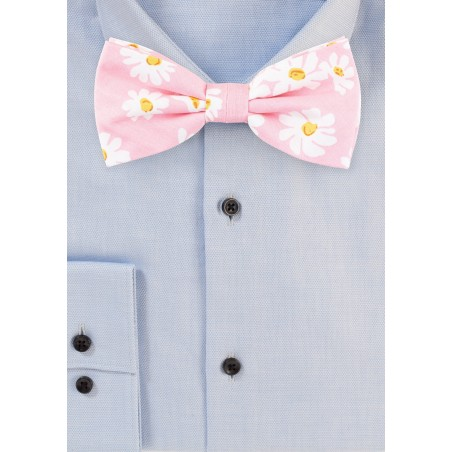 Pink Bow Tie with White Flower Design