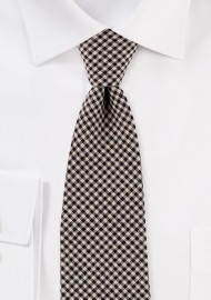 Tweed Micro Check Cotton Tie in Brown