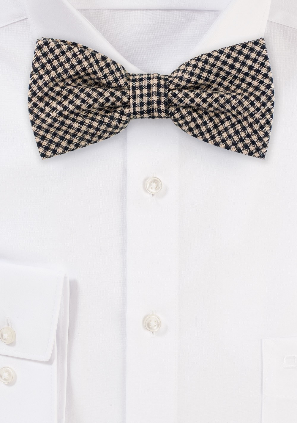 Micro Check Tweed Bow Tie in Brown