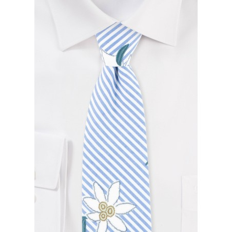 Summer Stripe Cotton Tie with Embroidered Florals