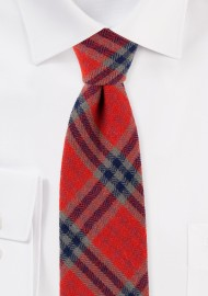 Tartan Plaid Tie in Crimson and Olive