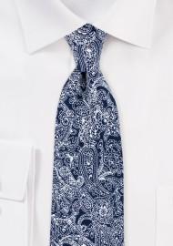 Skinny Tie in Navy with Bandana Print