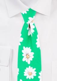 Spring Green Daisy Necktie