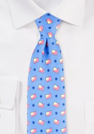 American Flag Print Mens Tie in Light Blue