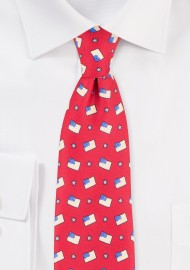 American Flag Print Mens Tie in Crimson Red