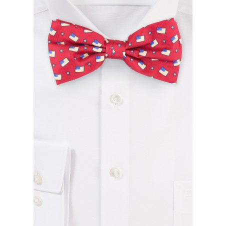 American Flag Bow Tie in Crimson Red