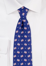 American Flag Print Mens Tie in Royal Blue