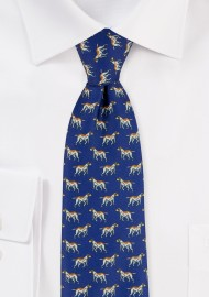 Trendy Mens Tie with Hounds Print in Navy and Tan