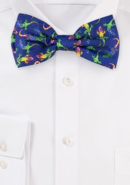Colorful Gecko Print Designer Bow Tie