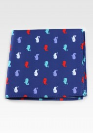 Navy Pocket Square with Tiny Sperm Whales