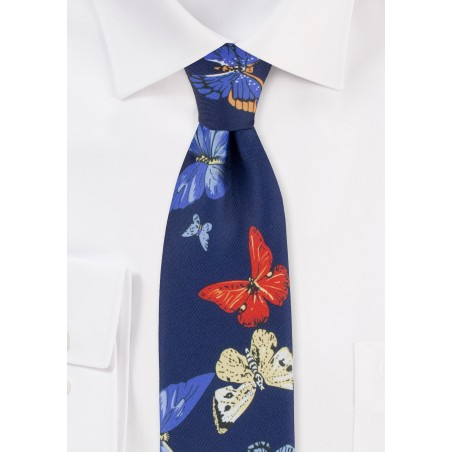 Butterfly Print Mens Tie in Blue