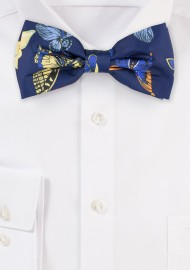 Blue Bow Ties with Butterfly Design Print