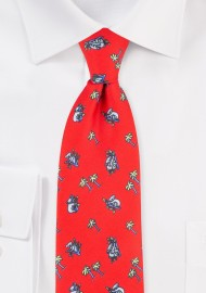 Bright Red Tie with Koala Bear Print Design