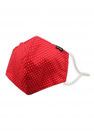 Cherry Red and White Pin Dot Print Face Mask