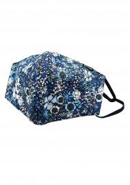 Blue Summer Floral Print Filter Face Mask