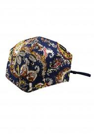 Vintage Paisley Filter Mask in Navy Blue