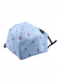 sky blue anchor print face mask in cotton with filter