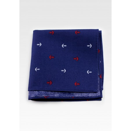 Nautical Pocket Square in Navy Blue