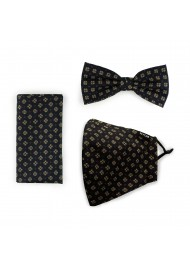 Bow Tie + Face Mask Set in Black and Gold