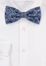 Bow Tie in Navy Blue Bandana Print