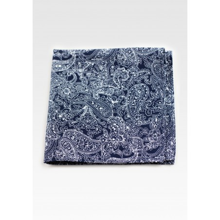 Pocket Square in Navy Blue Bandana Print