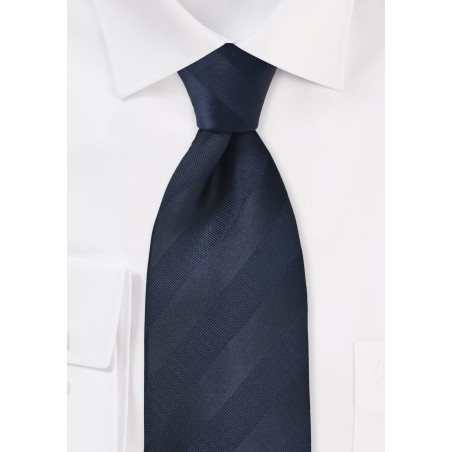 Striped Kids Tie in Midnight Blue