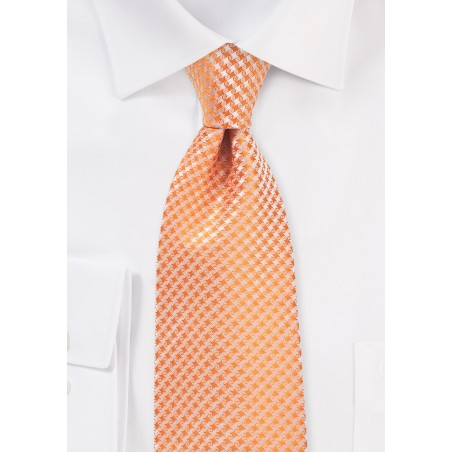 Houndstooth Check XL Length Tie in Tangerine