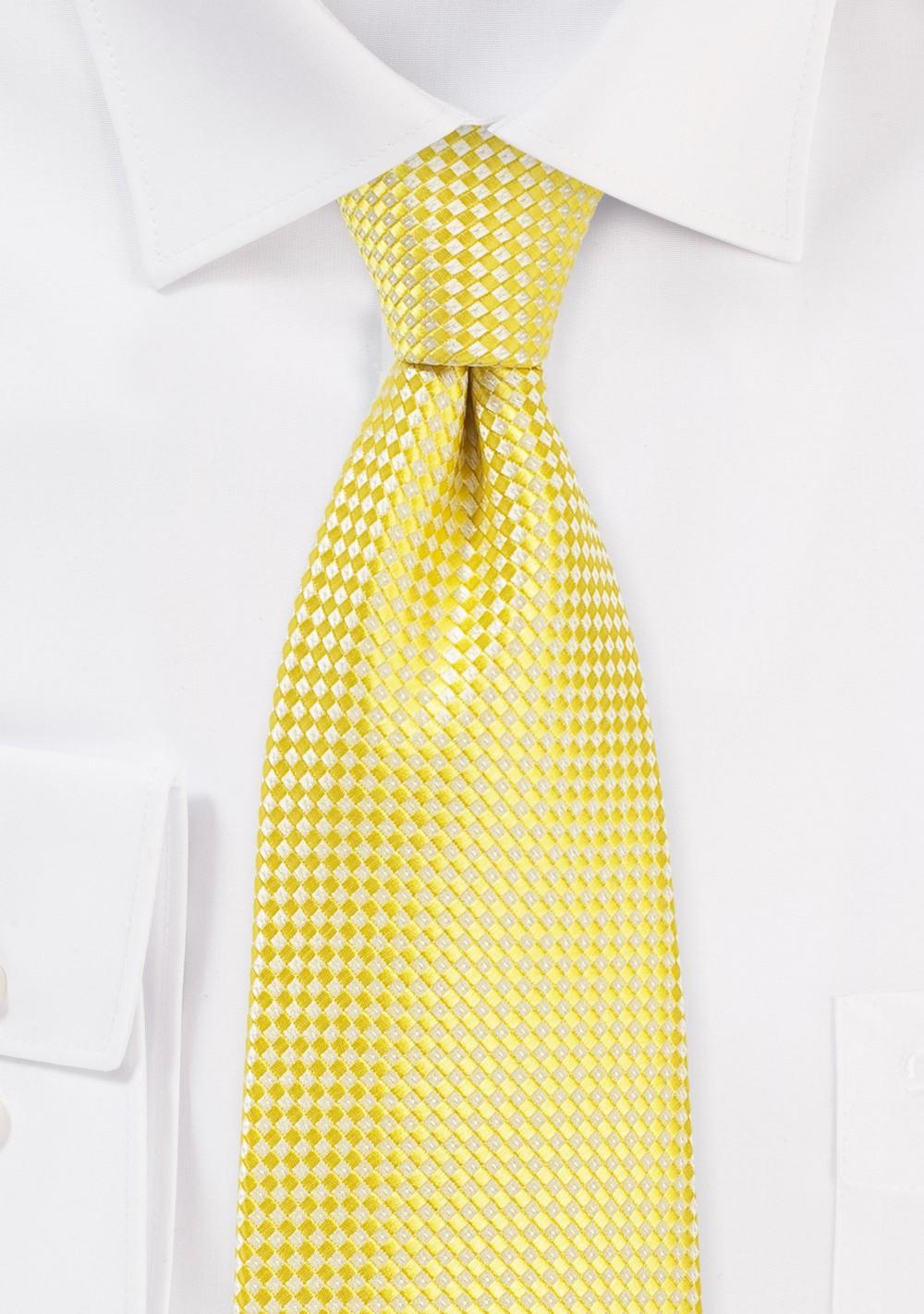 Vibrant Yellow Tie in XL Length