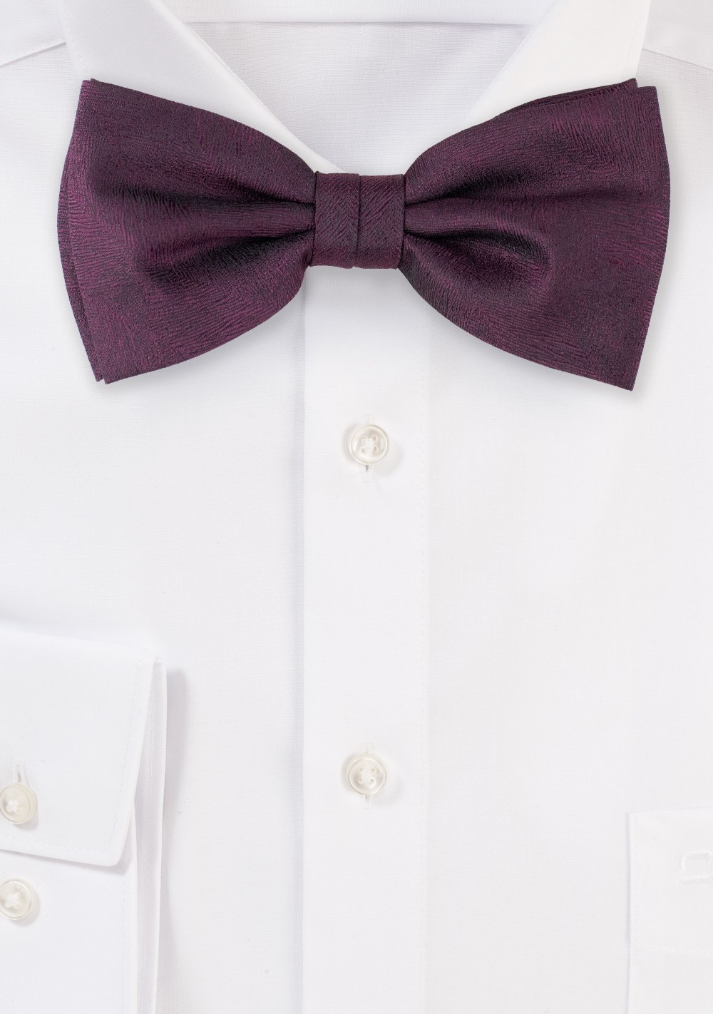Wood Grain Weave Bow Tie in Wine