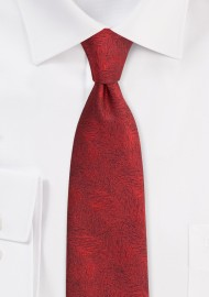 Wood Grain Textured Tie in Apple Red