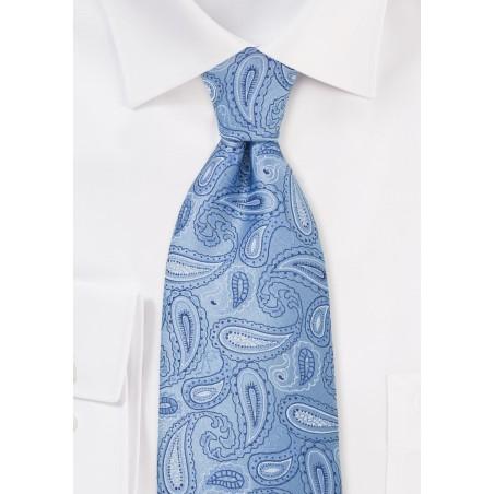 Light Blue Paisley Tie for Kids