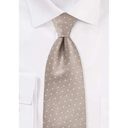 Extra Long Polka Dot Tie in Fawn