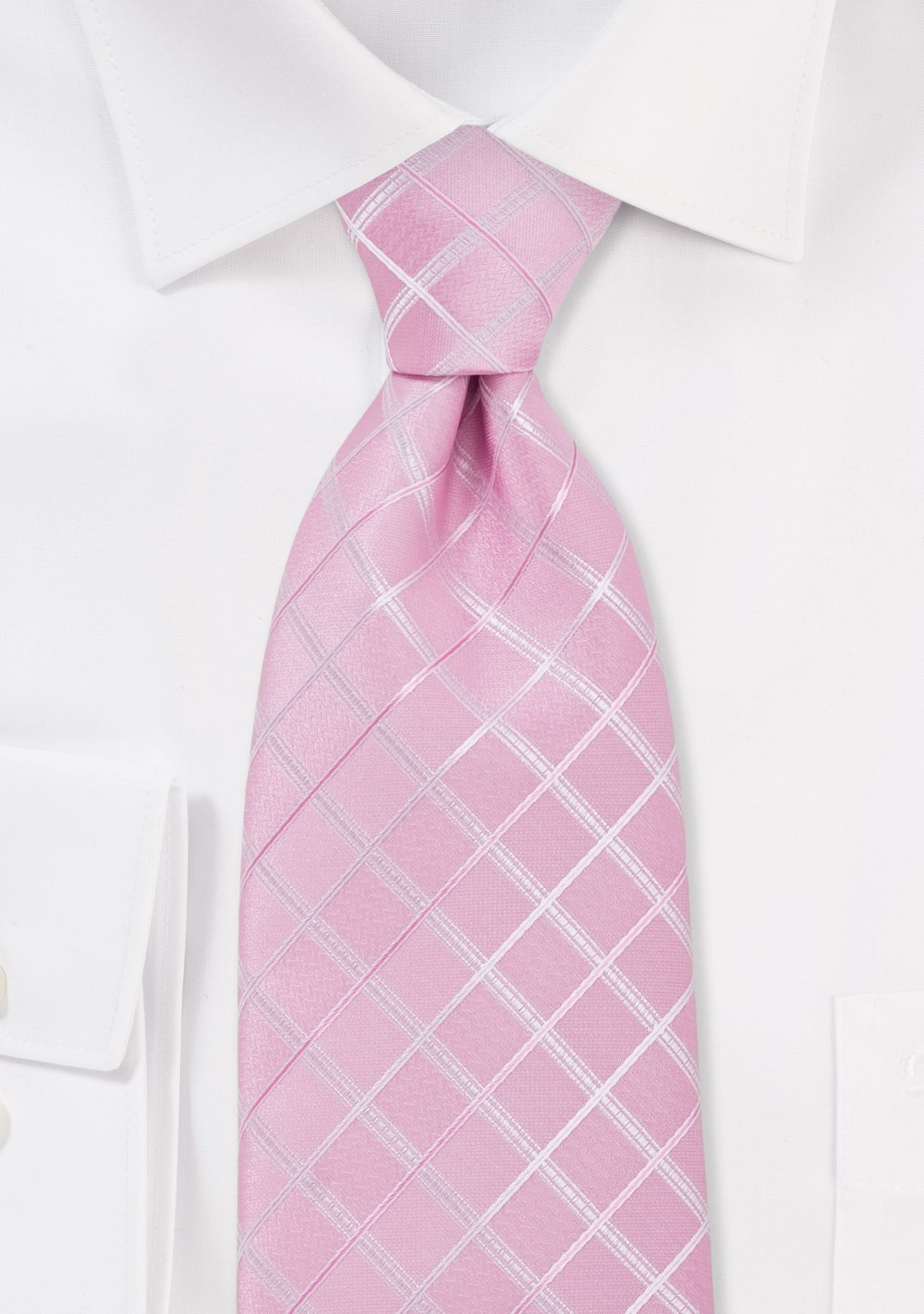 Pink Check Pattern XL Length Tie