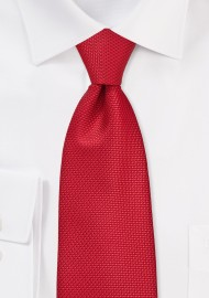 Extra Long Grenadine Texture Tie in Bright Red