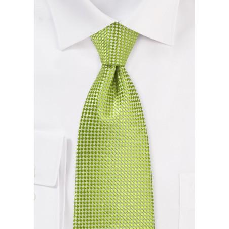 Textured XL Length Tie in Parrot Green