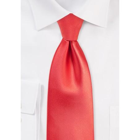 Mens Tie in Neon Coral