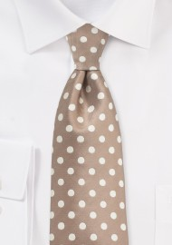 Taupe and Cream Polka Dot Tie