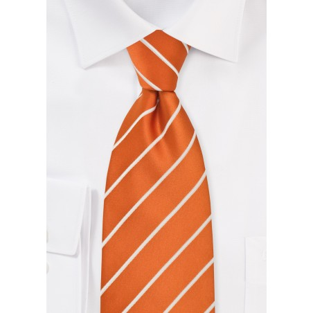 XL Striped Tie Persimmon Orange White