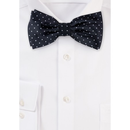 Black and Silver Polka Dot Bow Tie