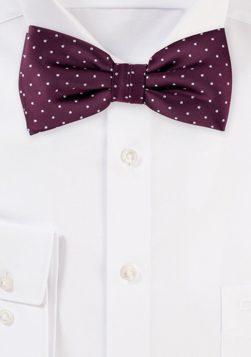 Burgundy Polka Dot Bow Tie