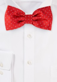 Crimson Red Polka Dot Bowtie