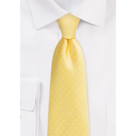 XL Length Polka Dot Tie in Dark Yellow