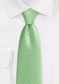 Light Green and White Polka...