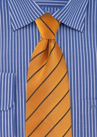 Traditional Striped Tie in Muted Orange
