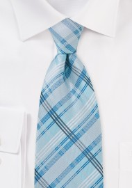 Sky Blue Checkered Tie in XL Length