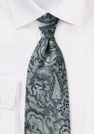 Steel Gray Paisley Kids Tie