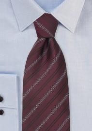 Burgundy Red Striped Mens Necktie