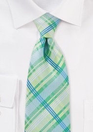 Light Green Check Tie in Extra Long Length